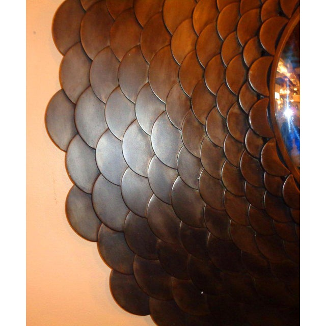 Gold Palatial Modernist Steel Fish Scale Convex Wall or Console Mirror For Sale - Image 8 of 10