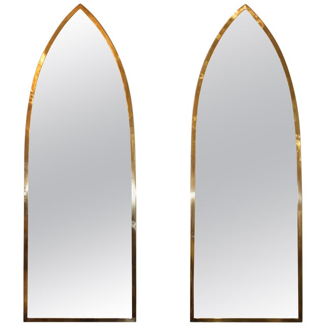 Mid-Century Modern Italian Brass Arched Frame Mirrors For Sale - Image 10 of 10