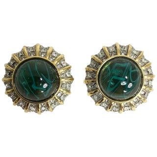 St John Green Stone Rhinestone Gold Clip Back Earrings For Sale