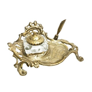 Antique Art Nouveau Brass Inkwell Stand With Glass Ink Holder For Sale