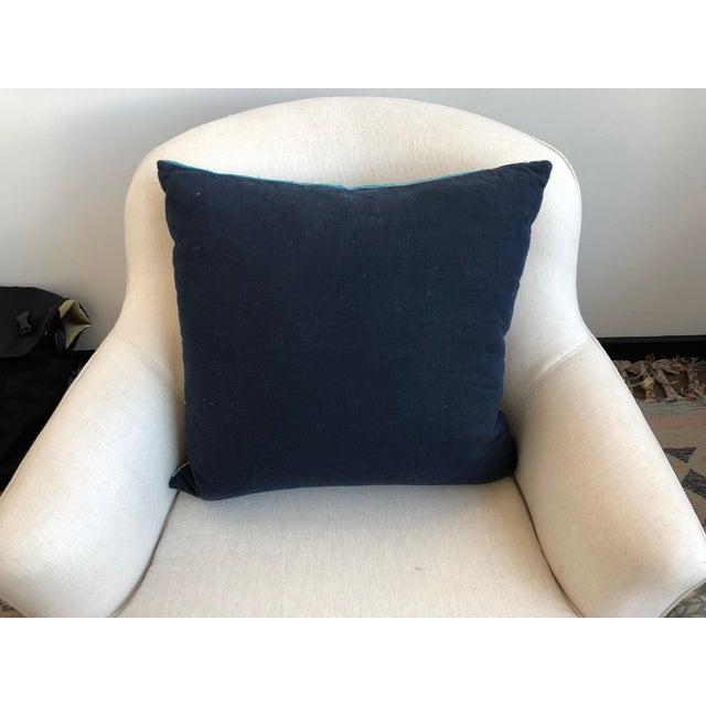 Pink and Navy Striped Pillow For Sale - Image 4 of 5