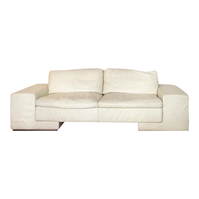 1950s Vintage Roche Bobois White Leather Sofa For Sale