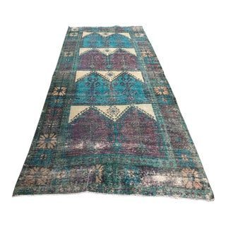 1960s Handmade Tribal Colourful Turqouise Runner For Sale
