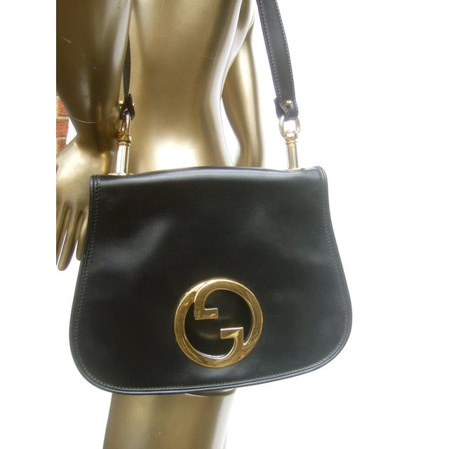 1970s Gucci Italy Ebony Leather Blondie Shoulder Bag For Sale - Image 6 of 11
