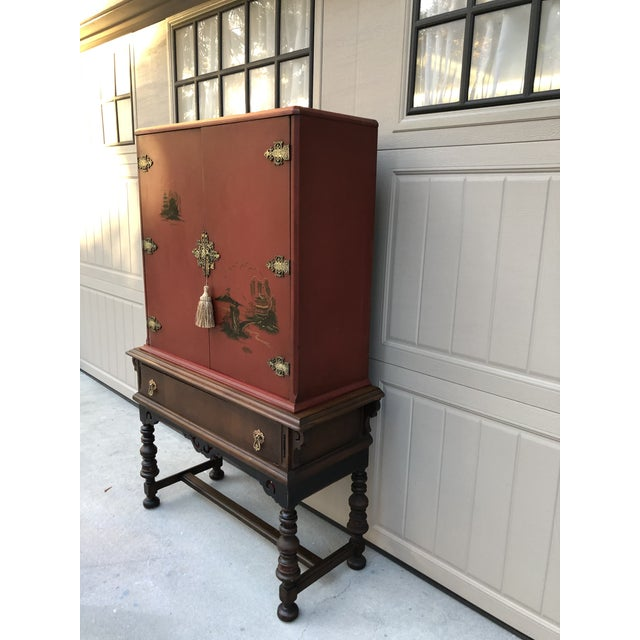 Asian Chinese Red Cabinet or Dry Bar For Sale - Image 3 of 13