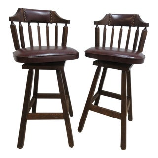 Vintage Hobb Nail Rustic Counter Revolving Bar Stools - A Pair For Sale
