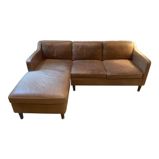 Modern Hamilton 2-Piece Leather Chaise Sectional For Sale
