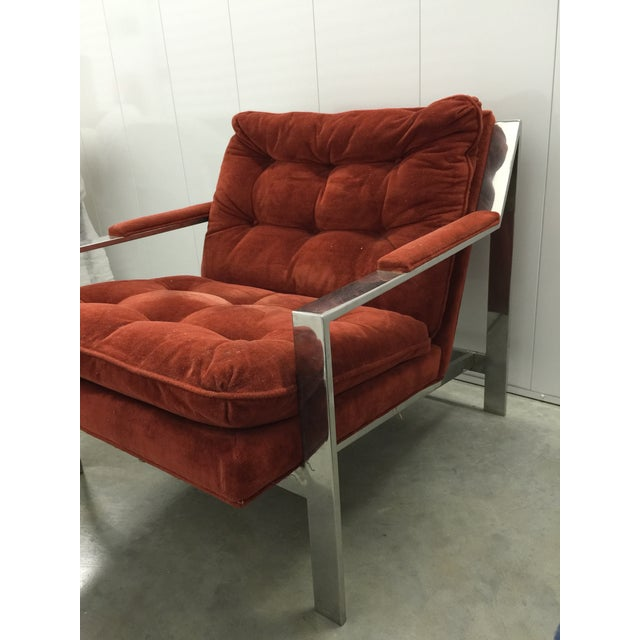 Milo Baughman Chrome and Velvet Lounge Chair - Image 4 of 7