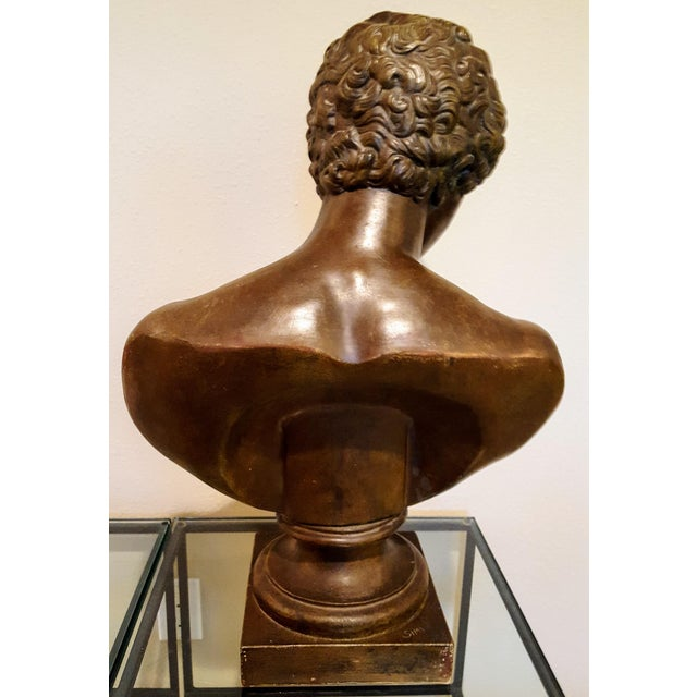 Traditional Ceramic Bust of Antinous, Lover of Emperor Hadrian For Sale - Image 3 of 6