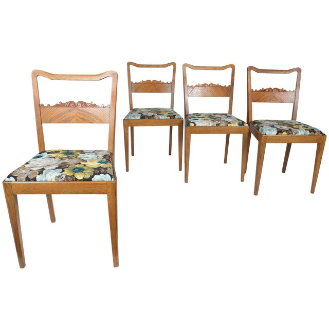 Swedish Floral Dining Chairs - Set of 4 - Image 1 of 3