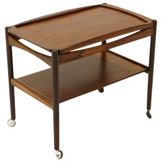 Danish Modern Rosewood Bar / Serving Cart, Removable Tray, Chrome Casters For Sale