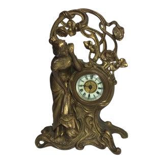 Asonia Art Nouveau Doré Bronze Clock For Sale