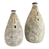 Image of Large Whimsical Ceramic Stoneware Face Vessels - a Pair For Sale