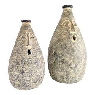 Large Whimsical Ceramic Stoneware Face Vessels - a Pair For Sale
