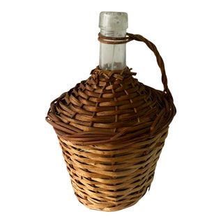 Antique Wicker French Viresa Glass Bottle Demijohn For Sale