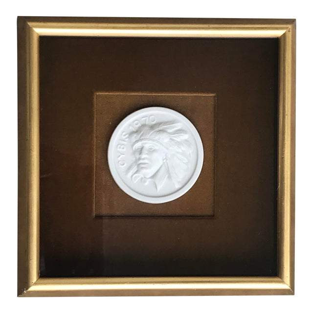 Native American Intaglio Style Medallion on Velvet For Sale