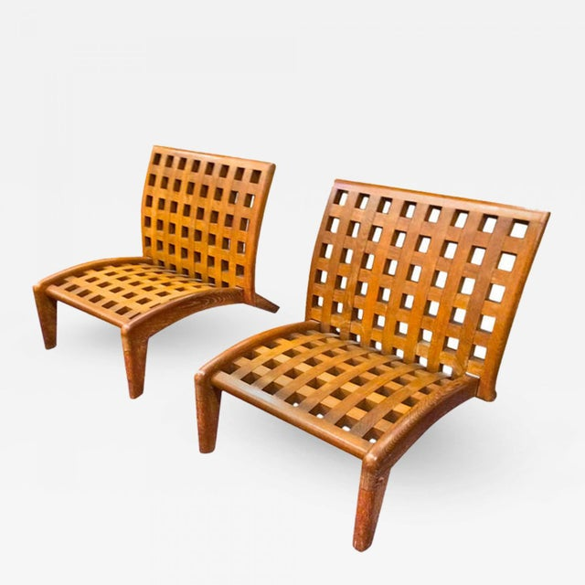 RENE GABRIEL rare pair of oak slipper lounge chair.