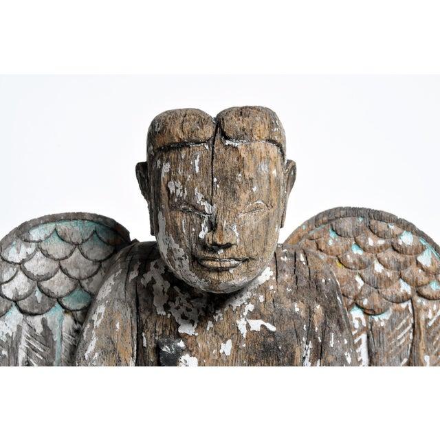Gray Carved Teak Wood Cupids For Sale - Image 8 of 13