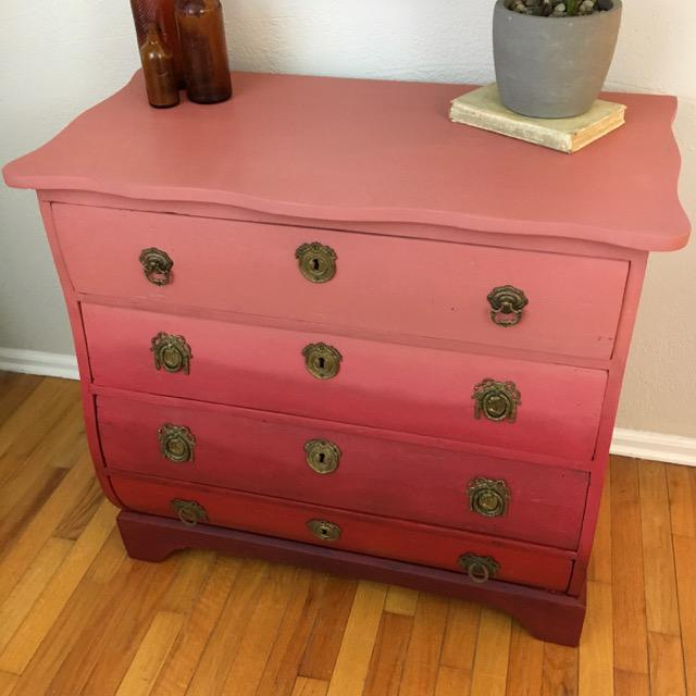 Boho Chic Modern Red Ombre 4 Drawer Chest For Sale - Image 3 of 7