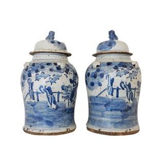 Porcelain Lidded Blue & White Ginger Jars - A Pair
