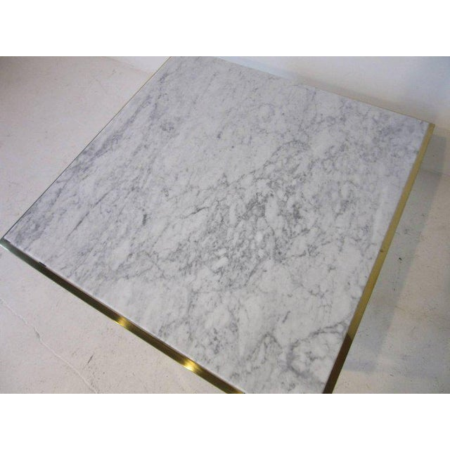 1980s Brass and Italian Marble Coffee Table For Sale - Image 5 of 6