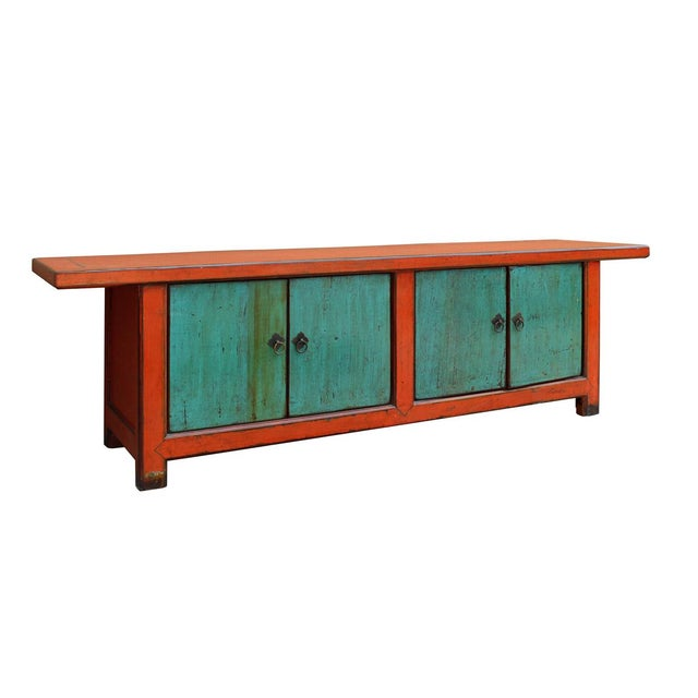 Asian Chinese Distressed Orange Blue Low TV Console For Sale - Image 3 of 6
