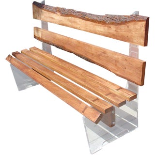 Free Edge Wood and Lucite Bench For Sale