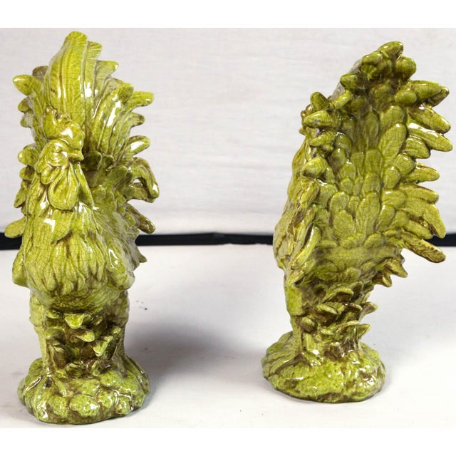 Yellow Pair of Ceramic Cockerels, Bassano, Italy, Mid-20th Century For Sale - Image 8 of 10