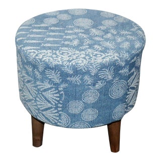 Modern Blue & White Small Cylindrical Three Legged Stool For Sale
