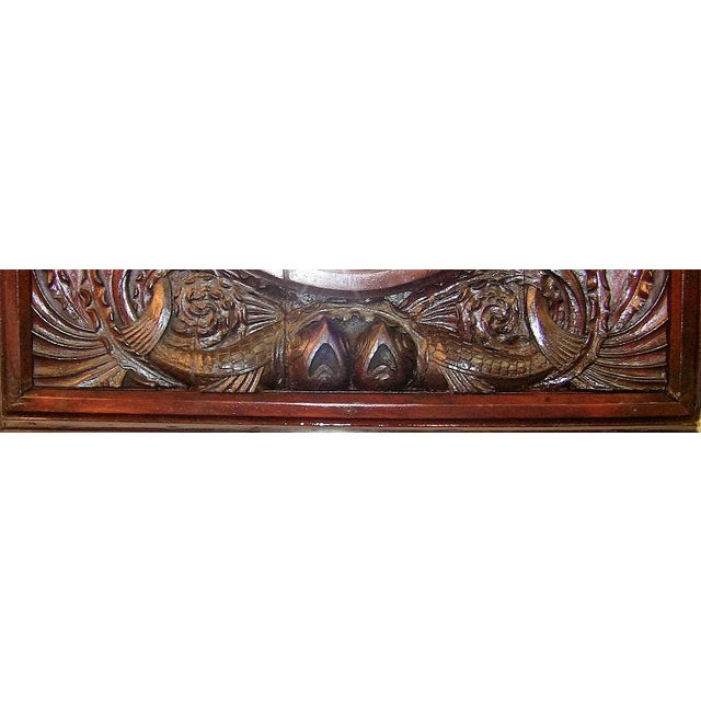 Americana 19c American Dark Walnut Wall Mirror With Mermaids - Important For Sale - Image 3 of 12