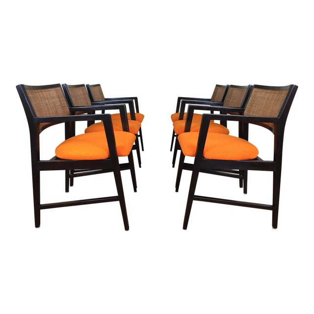 Edward Wormley for Dunbar Dining Arm Chairs - Set of 6 - Image 1 of 11