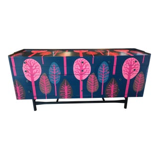 G-Plan Custom Wall Papered Dresser/Credenza For Sale