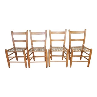 1950s Solid Wood Ladderback Rawhide Seat Side Chairs - Set of 4 For Sale
