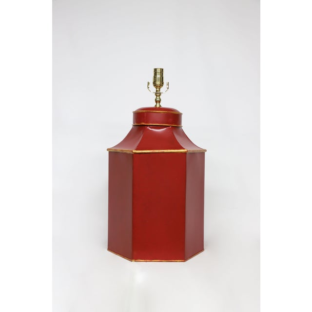 """Late 20th Century Vintage Red Painted Chinese Character Tole Tea Caddy Lamp """"No.2"""" For Sale - Image 5 of 7"""