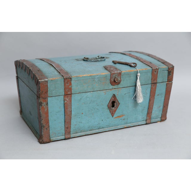 Turquoise Antique Swedish Chest Strong Box, Lock & Key For Sale - Image 8 of 8