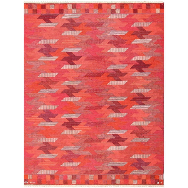 Vintage Marta Maas Scandinavian Geometric Rug by Barbro Nilsson - 6′3″ × 8′2″ For Sale - Image 11 of 11