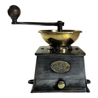 Antique English Steel and Brass Coffee Mill, Circa 1860. For Sale