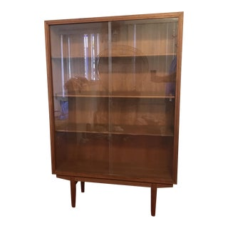 1960s Mid Century Modern Borge Mogensen Teak and Original Glass Bookcase