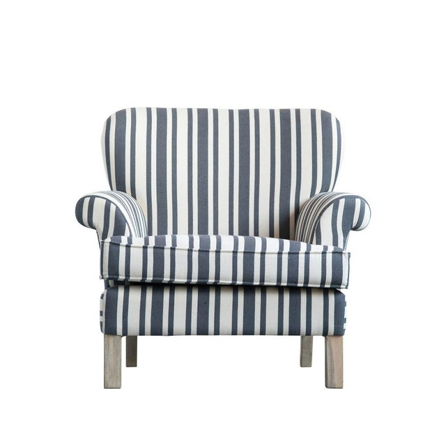 2010s Striped Fabric Classic Armchair For Sale - Image 5 of 6