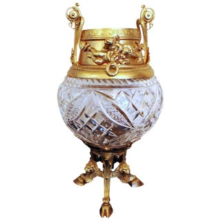 19th Century Antique Brass Ormolu & Cut Glass Vase