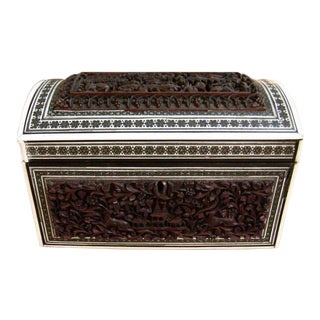 19c Anglo Indian Heavily Carved Padouk and Sadeli Double Caddy For Sale
