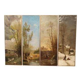 Antique French Quadriptych of the Four Seasons, Oil on Canvas, 19th Century For Sale