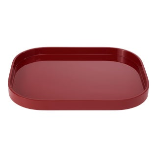 Miles Redd Collection Medium Stacking Tray in Garnet Red For Sale