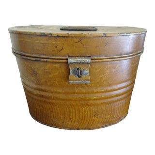 Mid 19th Century Antique English Faux Bois & Tin Hat Box For Sale