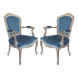 French Limed Louis XV Style Fauteuil Chairs With Velvet Mohair Seats With Trim