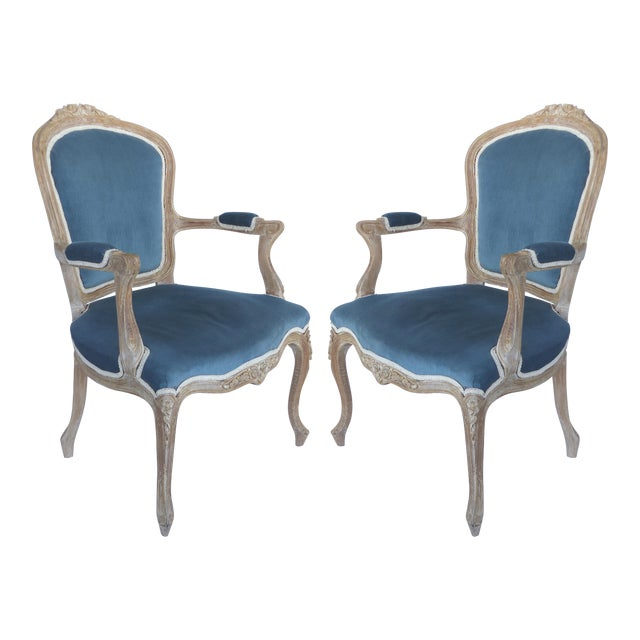 French Limed Louis XV Style Fauteuil Chairs With Velvet Mohair Seats With Trim For Sale