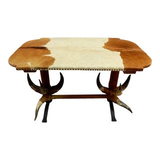 Antique Bull Horn Table Ca. 1870 For Sale