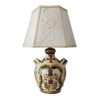 Mid Century Italian Hand Painted Glazed Ceramic Lamp For Sale