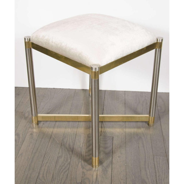 Mid-Century Modernist X-Form Stool in the Manner of Karl Springer For Sale - Image 5 of 7