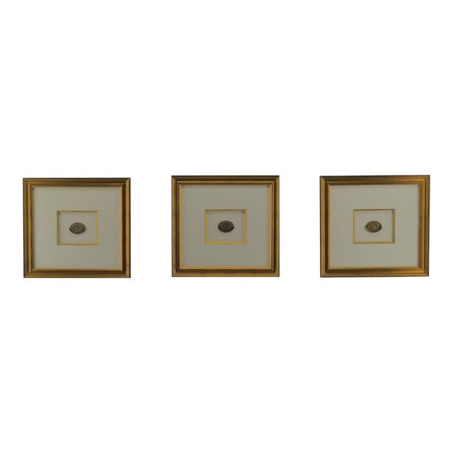 Set of 3 Gilt Federal Antique Drawer Pulls, Framed For Sale